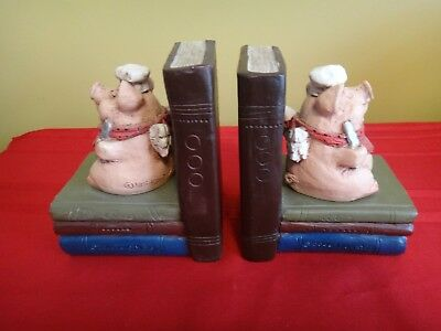 PIG BOOKENDS By The Stone Bunny (Telle M. Stein) 2005 Pig Angel Pair