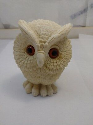 "Vintage Norleans, Made In England White Owl Figure W/orange Eyes 41/2""tx4""w"
