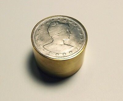 Coin Brass Snuff Trinket Pill Box Container