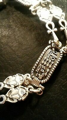 Antique VTG 925 Sterling Silver Ancient Egyptian Cartouche Ankh Scarab Bracelet