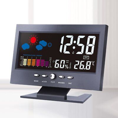 Color LCD Thermometer Hygrometer Voice Control Weather Station Alarm Clock ND