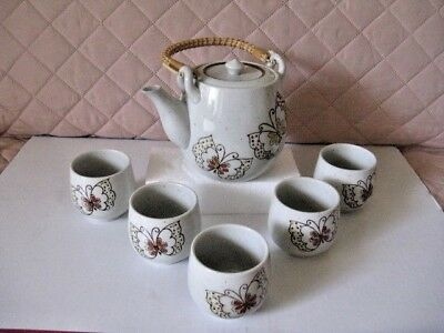 Hand Crafted Porcelain Japanese Tea Set -  Pot  & 5 Cups by Otagiri - Japan