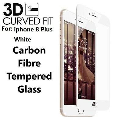 For iPhone 8 Plus 3D Full Edge to Edge WHITE Tempered Glass Screen Protector