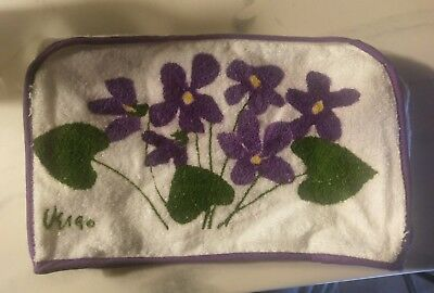 Vintage Terry Cloth Fitted Toaster Cover Vera Neumann Purple Violets!