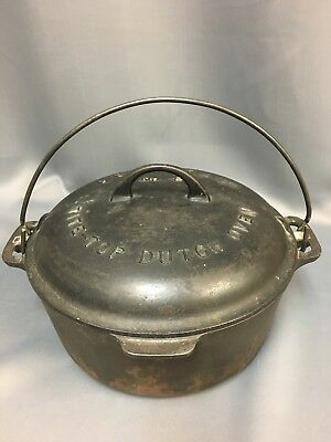 Griswold No.8 Cast Iron Tite Top Dutch Oven with Large Logo 2551B Lid 833L