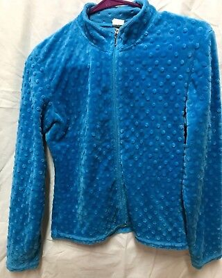 Chloe Noel figure ice skating dotted fuzzy fleece jacket turquoise Adult Small