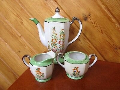 Antique Hotta Yu Shoten Tea Set Platinum Trim Teapot 2 Handle Sugar And Creamer