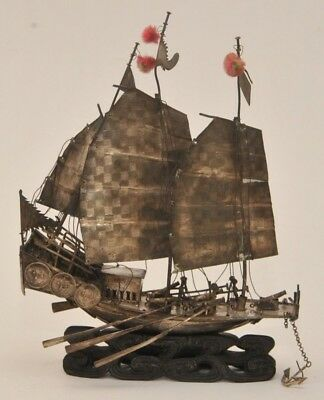 ANTIQUE ASIAN SAILING SILVER JUNK SHIP MODEL on WOOD STAND