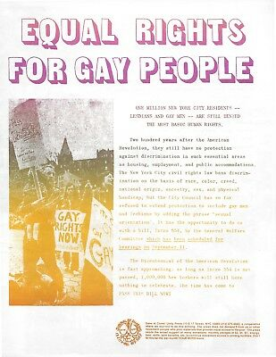 """Lgbtq -- 1975 """"equal Rights For Gay People"""" Supporting Nyc Gay Law 4-Page Flyer"""