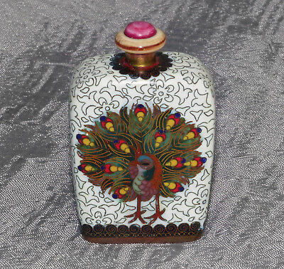 Old Japanese or Chinese Cloisonne Enamel Snuff Bottle- Gold and silver wires