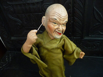 """Antique Chinese Character Doll Cleaning His Ear 12"""" Tall What A Face!!!"""