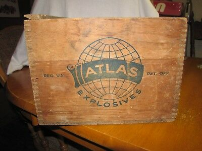 Vintage Atlas Powder Co High Explosives Dynamite TNT Wood Box Wooden Crate