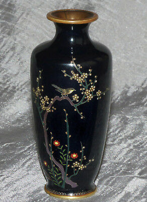 Fine Small Old Japanese Cloisonne Enamel vase - With Bird branches and flowers