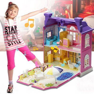 Doll House With Furniture Miniature House Dollhouse Assembling Toys For Kids ND