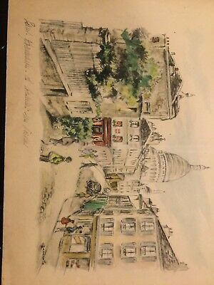 vintage charcoal & water color by Janicotte