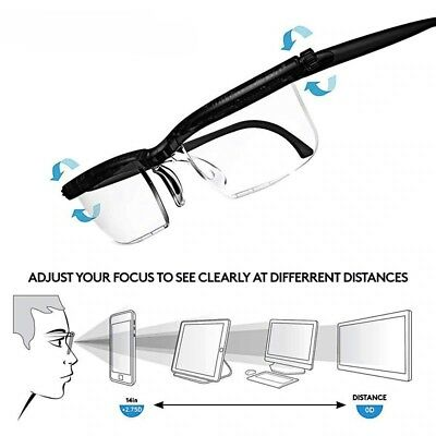ReeXunky Focus Adjustable Reading Glasses 6D to +3D Diopters Vision Myopia