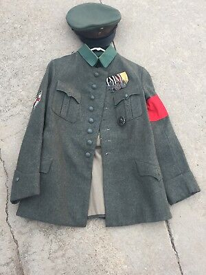 WWI WWII German Der Stahlhelm Bund Tunic And Visor With Iron Cross And Medals