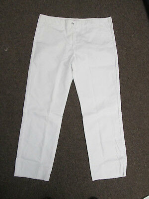 Womens Chef Pants cook white kitchen basixs size 16 40 x 34 unhemmed NEW