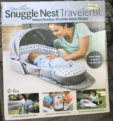 Baby Snuggle Nest Traveler BL Infant Sleeper 4 Storage Compartments Breathable