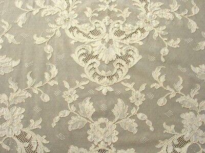 93 x 65 Ivory/Cream French Alencon Wedding/Bridal Net Lace Tablecloth, AS IS