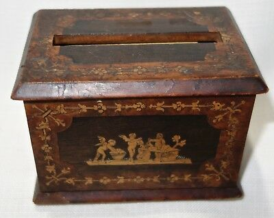 Antique Inlay Wood Cigarette Box By Gargiulo`s Lace House Sorrento Italy