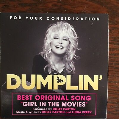 "DUMPLIN Dolly Parton  FYC Best Original SONG CD ""Girl In The Movies"" - RARE"