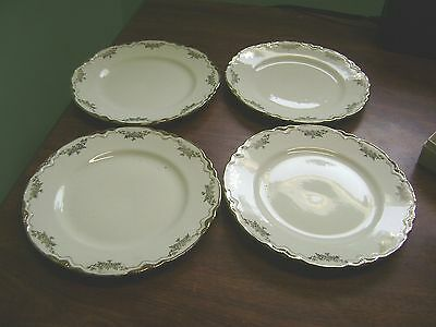 Set Of 4-  Edwin M. Knowles Gold And White Floral Bread/serving Plates