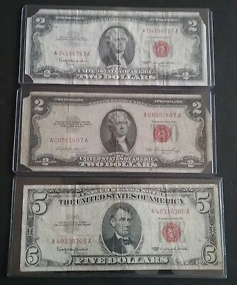 Two $2 & One $5 Dollar Bill United States Note Red Seal You Grade 1953 1963