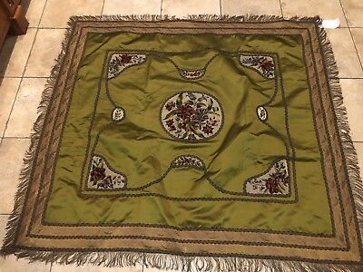 Antique vintage Victorian silk embroidered fringed shawl Flowers Gold Thread