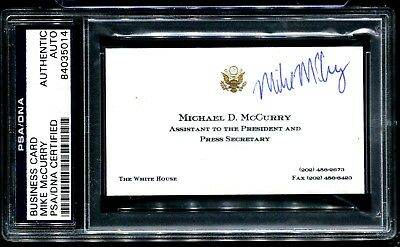 SIGNED BUSINESS CARD, MIKE McCURRY, BILL CLINTON'S PRESS SECRETARY
