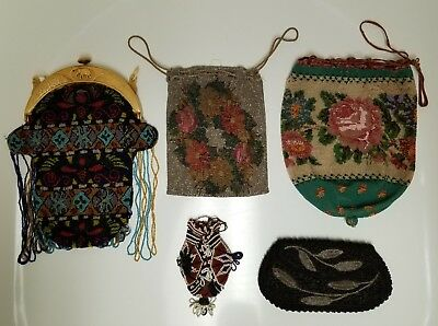 Vintage French Beaded Bag Purse Clutch Ivorex Frame & Antique Heavy Beaded Nice