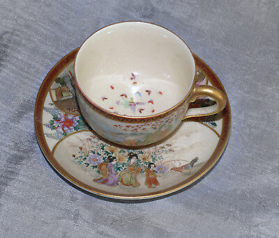 Signed Hand Painted Japanese Satsuma Cup & Saucer - Antique from Meiji Era