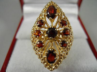 Heavy Wide 14K Yellow Gold Garnet Byzantine Rope Bohemian Flower Ring 6.5 6.7G