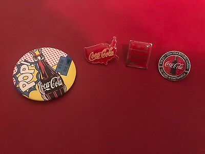Coca Cola Collectible Pins Lot Of 4