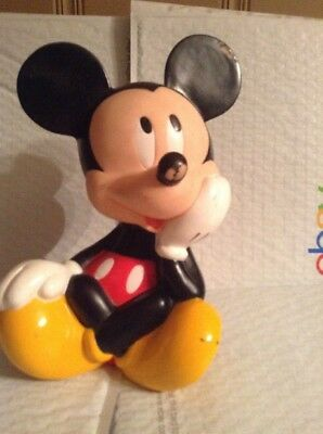 """Mickey Mouse Bank by Applause Disney  9.5"""" tall plastic has stopper/plug"""