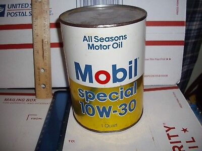 Vtg.quart Composite Mobil Oil Can-Special10W-30-Nice--Full--Unopened