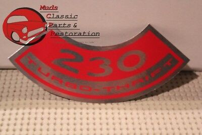 66 Nova Chevy II Chevelle Base Engine 230 Turbo Thrift Air Cleaner Decal