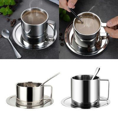 Stainless Steel Coffee Cup Coffee Mugs Espresso Cups Cups Spoon Saucer
