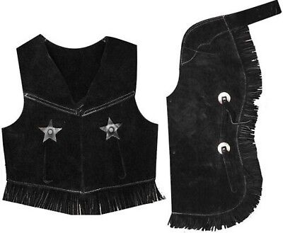 Showman BLACK MEDIUM Kid's Size Suede Leather Western Chaps & Vest Set! Costume!