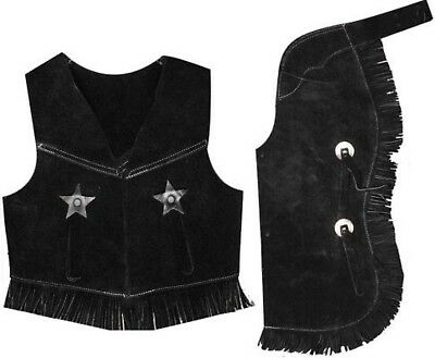Showman BLACK LARGE Kid's Size Suede Leather Western Chaps & Vest Set! Costume!