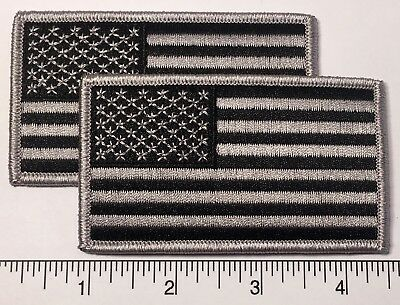 "Pair (2): American Flag GREY Embroidered Patch 3.5x2"" -- Patriotic Pride USA"