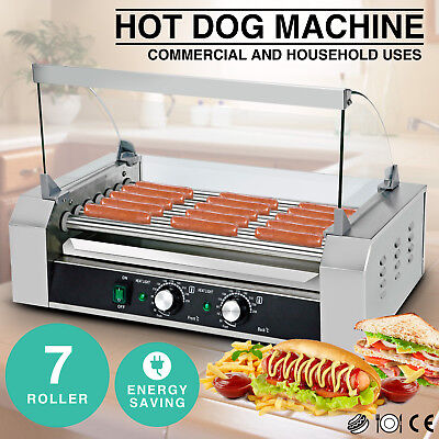 Commercial Hot Dog Roller Grill Cooker Machine W/Cover Stainless Steel Xmas Gift