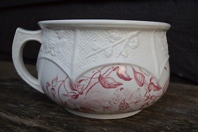 Vintage Floral Red/Pink Transferware Chamber Pot