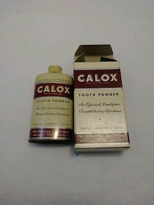Vintage Calox Tooth Powder Original Box Tin Full Unused NOS OFFERS OPEN