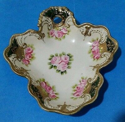 Antique Nippon Hand Painted Gold Moriage Beaded Candy Dish~Maple Leaf Mark~1890s
