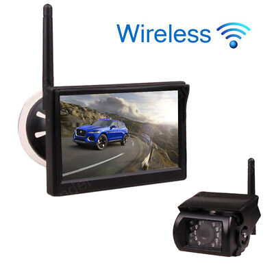 """For Truck Tralier Wireless Rear View Backup IR Camera+5"""" Scution / Stand Monitor"""