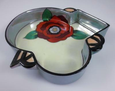Vintage NORITAKE Japan ART DECO LUSTERWARE DISH Odd Shape, Red Flower