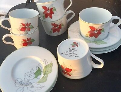 Block Spal POINSETTIAS Coffee Mug / CUP & SAUCER Set - Great for the Holidays