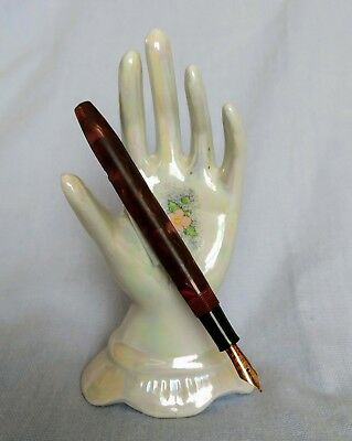 Vintage Conway Stewart Fountain Pen No: 12 Red Brown 14CT Gold Nib 3N No Lid.
