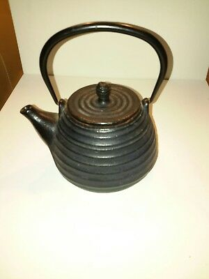 Vintage Cast Iron Japanese Tea Pot Kettle Tetsubin Signed